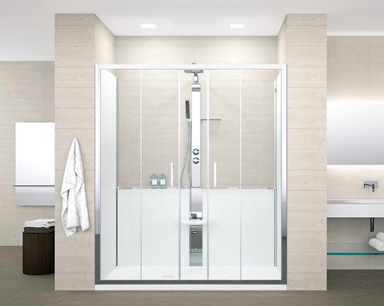 Inloopdouche Met Douchepaneel : Een bad vervangen door een douche novellini be